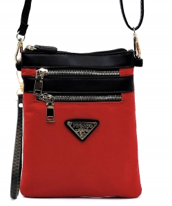 Nylon Multi Zipper Crossbody Bag NP2582L RED