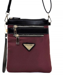 Nylon Multi Zipper Crossbody Bag NP2582L WINE