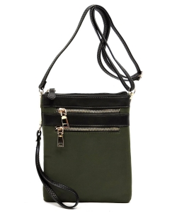 Fashion Zip Nylon Crossbody Bag Wristlet NP2588 OLIVE