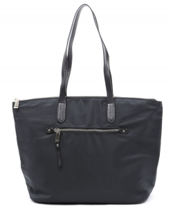 Nylon Front Zipper Tote Bag NP2593 BLACK