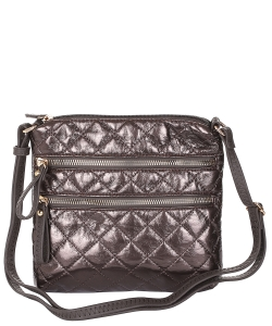 Quilted Multi Zip Pocket Crossbody Bag NY102 EGUNMETAL