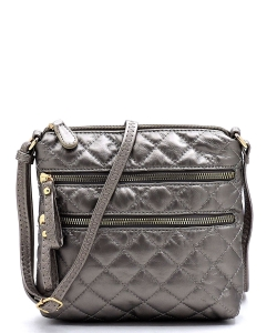 Quilted Multi Zip Pocket Crossbody Bag NY102P PEWTER