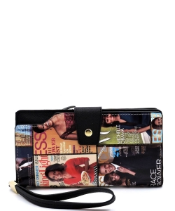Magazine Cover Collage Clutch Wallet Wristlet OA015 MULTI