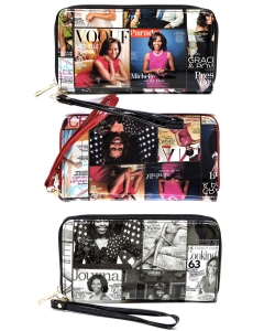 6 Pcs Magazine Cover Collage Zip Around Wallet OA020