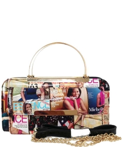 Magazine Cover Collage Clutch Wallet OA038 BLACK MULTI