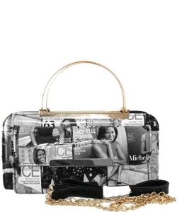Magazine Cover Collage Clutch Wallet OA038 BLACK