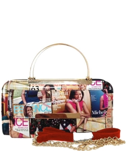 Magazine Cover Collage Clutch Wallet OA038 RED MULTI