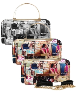 Pack of 6 Pieces Magazine Cover Collage Clutch Wallet OA038