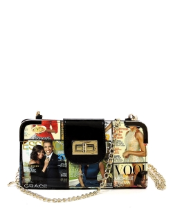 Magazine Cover Collage Turn Lock Crossbody Wallet OA041 Black/Multi