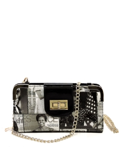 Magazine Cover Collage Turn Lock Crossbody Wallet OA041 Gray/Black