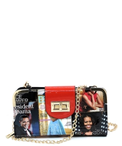 Magazine Cover Collage Turn Lock Crossbody Wallet OA041 Red/Multi