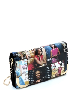 Magazine Cover Collage Crossbody Clutch Wallet OA045 BLACK/MULTI