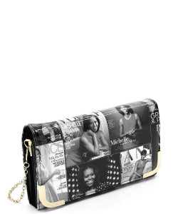 Magazine Cover Collage Crossbody Clutch Wallet OA045 GRAY/BLACK