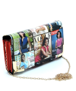 Magazine Cover Collage Crossbody Clutch Wallet OA045 RED/MULTI