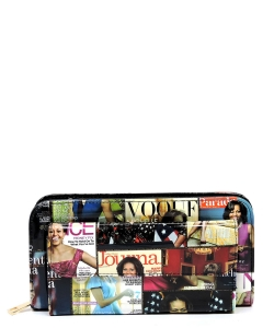 Magazine Cover Collage Front Pocket Clutch Crossbody Wallet OA049 BLACK/MULTI