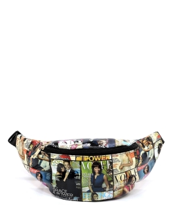 Magazine Cover Collage Fanny Pack Waist Bag  OA051 BLACK/MULTI