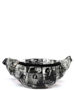 Magazine Cover Collage Fanny Pack Waist Bag  OA051 GRAY/BLACK