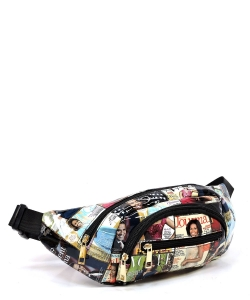 Magazine Cover Collage Fanny Pack Waist Bag  OA052 BLACK/MULTI