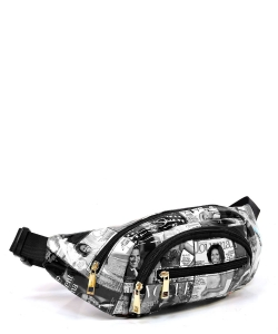 Magazine Cover Collage Fanny Pack Waist Bag  OA052 GRAY/BLACK