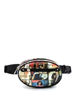 Magazine Cover Collage Oval Fanny Pack Waist Bag OA053 BLACK/MULTI