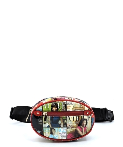 Magazine Cover Collage Oval Fanny Pack Waist Bag OA053 RED/MULTI