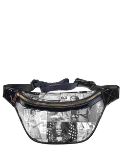 Magazine Cover Collage Fanny Pack OA056T BLACK