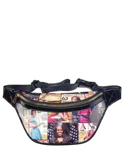 Magazine Cover Collage Fanny Pack OA056T BLACKMULTI