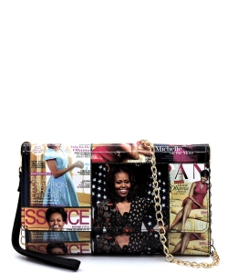 Magazine Cover Collage Clutch Wallet Cell Phone Purse OA061 Black/MULTI