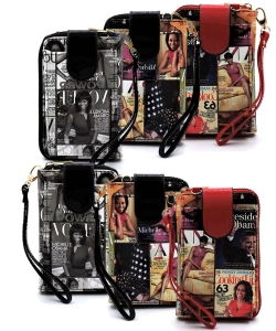6pcs Magazine Cover Collage Phone case & Wallet OA072 ASSORTED