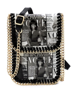 Magazine Cover Collage Chain Trimmed Large Cell Phone Case OA077L BLACK