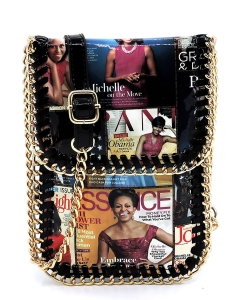 Magazine Cover Collage Chain Trimmed Large Cell Phone Case OA077L BLACK MULTI