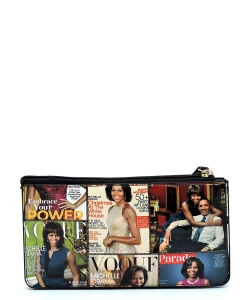 Magazine Cover Collage Crossbody Clutch Wallet Wristlet OA078 BLACK/MULTI