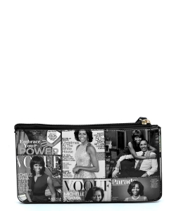Magazine Cover Collage Crossbody Clutch Wallet Wristlet OA078 GRAY/BLACK