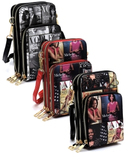 6 Pcs Magazine Cover Collage Crossbody Bag Cell Phone Purse OA081