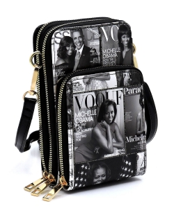 Magazine Cover Collage Crossbody Bag Cell Phone Purse OA081 GRAYBLACK