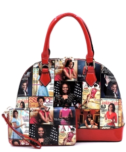 Magazine Cover Collage 2-in-1 Dome Satchel OA2572 MULTIRED