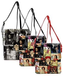 Package of 6 Pieces Magazine Cover Collage Flap Crossbody Bag OA2592