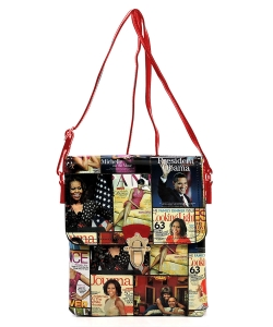 Magazine Cover Collage Flap Crossbody Bag OA2592 MULTIRED