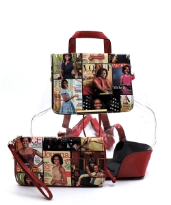 Magazine Cover Collage Clear Drawstring Backpack  OA2667T REDMT