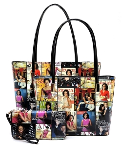 Magazine Cover Collage 3-in-1 Tote Set OA2669 MULTIBLACK