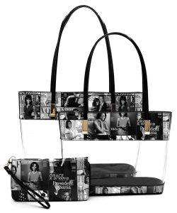Magazine Cover Collage See Thru 3-in-1 Tote Set OA2669T GRAY/BLACK