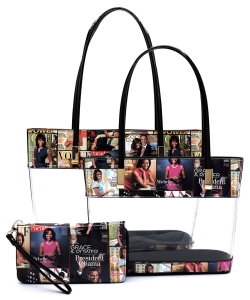Magazine Cover Collage See Thru 3-in-1 Tote Set OA2669T MULTI/BLACK