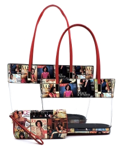 Magazine Cover Collage See Thru 3-in-1 Tote Set OA2669T MULTI/RED