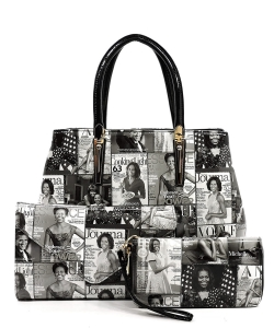 Magazine Cover Collage 3-in-1 Satchel OA2678 BLACK