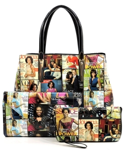Magazine Cover Collage 3-in-1 Satchel OA2678 MULTIBLACK