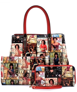 Magazine Cover Collage 3-in-1 Satchel OA2678 MULTIRED