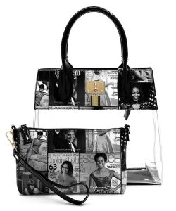 Magazine Cover Collage Padlock See Thru 2-in-1 Satchel OA2687T GRAY/BLACK