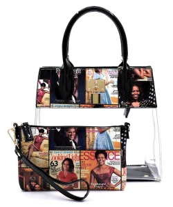 Magazine Cover Collage Padlock See Thru 2-in-1 Satchel OA2687T MULTI/BLACK