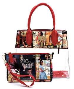 Magazine Cover Collage Padlock See Thru 2-in-1 Satchel OA2687T MULTI/RED