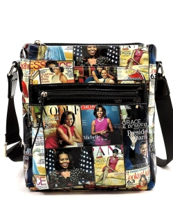 Magazine Cover Collage Crossbody Bag OA2692 MULTIBLACK